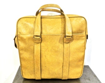 vintage travel bag - 1960s Samsonite yellow tote bag