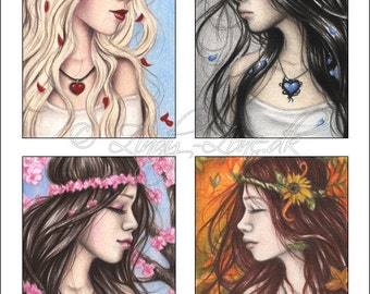 ACEO Print Pack Season Hearts Flower Rose Lily Girl Necklace Art Zindy Nielsen