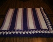 Knit 2 Tone Purple & White Baby Blanket / Afghan / Lapghan With Crochet Trim