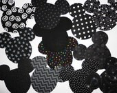 12 Iron On Fabric Applique BLACK Print Fabrics...MICKEY Or MINNIE Mouse Appliques