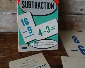 Vintage Double Sided Math Flash Cards for Subtraction Set of 12 1950's Blue & Green