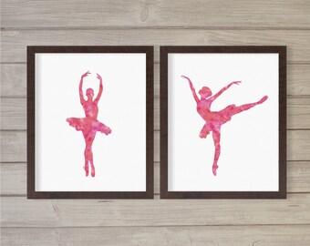 Ballerina Pink Watercolor Wall Art Printable Instant Download -Set of 2 8x10 - Ballet Dance Pirouet Nursery Dancer Room Decor Print