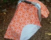 Baby Car Seat Canopy - Baby Car Seat Cover - Orange Car Seat Canopy - Blue Car Seat Cover - Baby Shower Gift