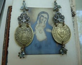 SOLD LISTING:  Antique French Religious Medal Earrings, The Black Madonna & the Sacred Heart of Marie, by RusticGypsyCreations