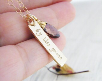 by His grace hand stamped 14kt gold fill  pendant necklace christian jewelry