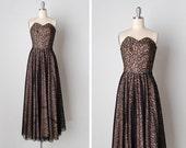 vintage 1940s dress / 1940s lace dress / 1940s strapless dress / Salon Noir dress