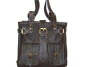 Dark brown Leather Bag,Handbag, Shoulder Cross-body Purse, Orea M // SALE