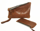 Distressed LINED Genuine Leather Clutch and Purse // set of two LEATHER PIECES