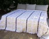 XL White Cream Moroccan Wedding Handira Blanket // Moroccan Handmade Vintage Blanket Handira