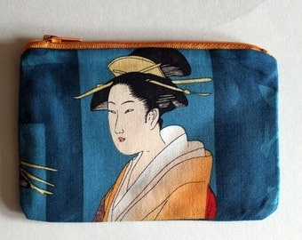 Japanese Ladies Zip Pouch - Small Zip Pouch Coin Purse Wallet