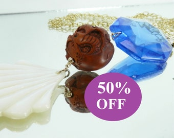 NOW 50% OFF!  Fish Netsuke Pendant with Carved Mother of Pearl Scallop and Vintage Glass