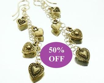 NOW 25% OFF D'Or cinq coeurs Earrings - Five Heart Earrings