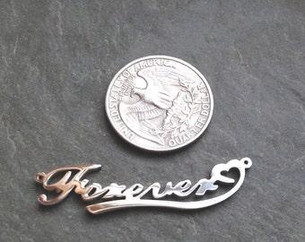 SALE - Forever Pendant, Silver Plated Pendant, Inspirational, Bracelet Blank - FAST SHIPPING