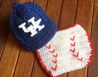 Kentucky baby, Newborn University of Kentucky baby cap and diaper cover set