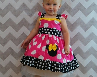 "Minnie Mouse Dress ""sweetheart"" Birthday Custom Boutique Children Clothing Jumper  Dress 12 Months to 6 Years"