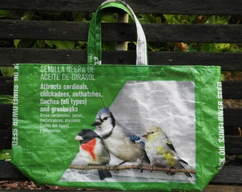 NEW LOW PRICE, 2 Sizes, Upcycled Recycled Repurposed  Grocery Market Tote or Gift  Bag for Bird Lovers