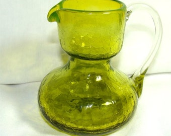 Vintage 1950's PILGRIM Green Crackle Glass Small Pitcher