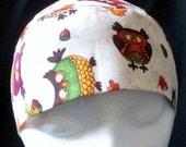 Cream Chemo or Skull Cap w Little Owls and Leaves, Girls, Women, Head Wrap, Do Rag, Hats, Head Cover, Bald, Hair Loss, Bandanna, Children