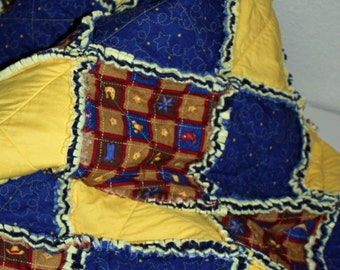 Rag Quilt Twin Cowboy Cowgirl Western Navy Blue Yellow Red Stars Hats Boots Spurs