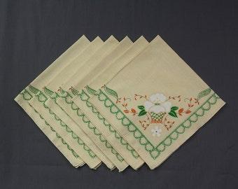 1950s Vintage napkins Set of 6 Off white, printed crewel design in green, oranges, White, Floral motif Excellent vintage condition