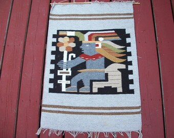 Vintage Aztec Mayan Inca Tapestry Wall Hanging Retro Hippie Boho