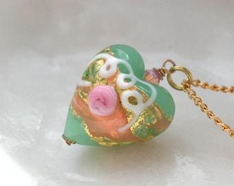 Green Venetian Murano Glass Heart Necklace