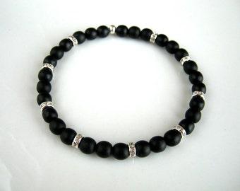 Black Rhinestone Stretch Bracelet Black Stacking Bracelet