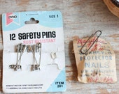 Vintage Safety Pins, Wearever Protector Nails, Shoe Nails, Assemblage Art Supplies, 1960s  Vintage Art Supplies, Mixed Media Collage Art
