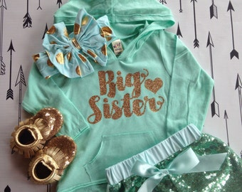 Big Sister Light Weight Hoodie Big Sister Shirt Mint Big Sister Shirt Mint and Gold Shirt Hoodie Long Sleeve Big Sister Shirt