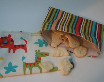 Handmade Snack Bags - Reusable Snack Packs - Safari Pouches - Toddler Snack Bags - READY TO SHIP -
