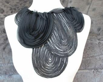 Black color   embroidered chiffon   applique