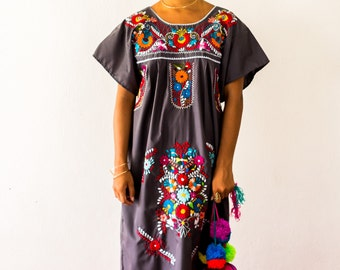 SALE -Mexico Embroidered Dress in Charcoal Grey