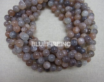 65 pcs of Gray Moonstone smooth round beads in 6mm A Grade