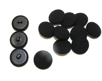 "Fabric Covered Buttons 7/8"", Black, 36 Line, 13 pcs"