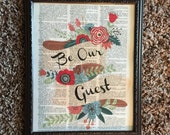 Be our guest table sign. Old dictionary print. Be our guest. Guest table sign. Wedding.