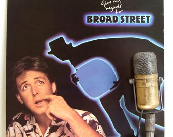 "ON SALE Paul McCartney (The Beatles) Vinyl Record Album Lp Vintage 1980s British Pop Rock and Roll ""Give My Regards To Broad Street"" (1984 M"