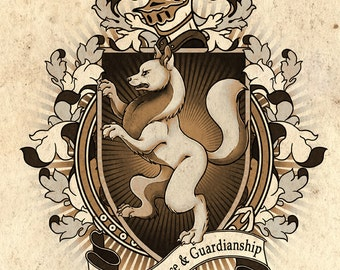 Wolf Coat Of Arms Heraldry Art Print