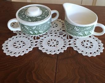 Vintage Transferware Green China Sugar Bowl, Creamer and Lid Tea Set