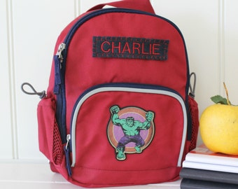 Baby Backpack With Monogram Pottery Barn (Mini Size) -- Red/Navy With Hulk Patch