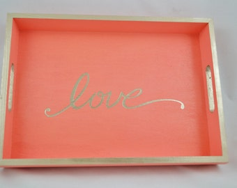 Coral Love Wooden Serving Tray with handles, coffee tray, breakfast tray