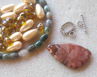 Agate Pendant, Fancy Jasper, Glass Beads, DIY Jewelry Kit, Craft Supplies, Jewelry Making Beads, Necklace Design, Bead Kit
