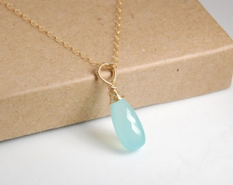 Wire wrapped aqua chalcedony faceted drop pendant necklace, 14K gold filled chain