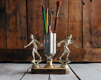 Twin Bowler Upcycled Trophy Pencil Holder Organizer,  Upcycled Trophy Pencil Cup, Studio Desk Toy