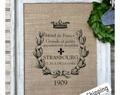 French Vintage | French Country Decor | Farmhouse Decor | Cotton Print | Distressed Barn Wood Frame