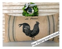 French Country Rooster - Burlap Pillow - Insert Included * FREE SHIPPING *