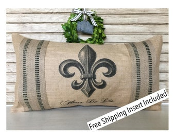 Fleur De Lis - Burlap Pillow - Insert Included * FREE SHIPPING *