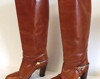 Vintage Brown Leather Knee High Boots Equestrian Stirrup Style 7