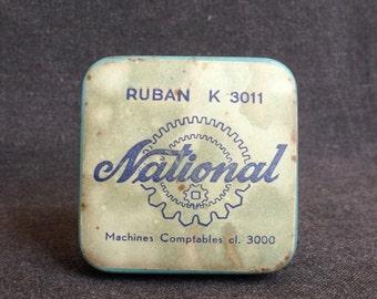 National little blue tin box  Vintage retro typewriter machine ribbon collectible