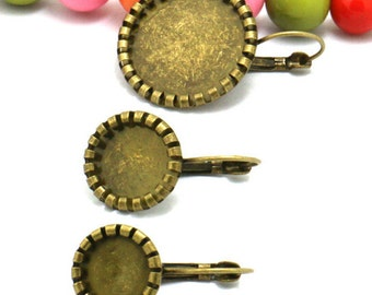 40 Earring Blanks-  Brass Antique Bronzed Lever-Back Ear Wire W/ 10mm/ 12mm/ 20mm Round Bezel Setting Wholesale
