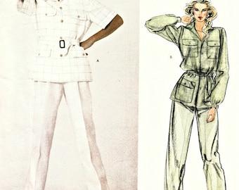 1970s Ralph Lauren Safari Style Pant Suit Pattern  VOGUE 2922   American Designer Series  Unlined Jacket, Belt and Trousers  Bust 32-1/2